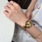 韓風CHIC休閒時尚INS網紅復古金色鏈條錶簡約時裝錶手錶女  深藏blue