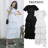 優惠持續兩天-短袖洋裝夏季正韓學院風高腰顯瘦短袖層層蛋糕洋裝女修身氣質長裙