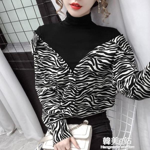 秋裝年新款假兩件設計感小眾襯衣女時尚豹紋打底寬鬆顯瘦上衣 韓美e站