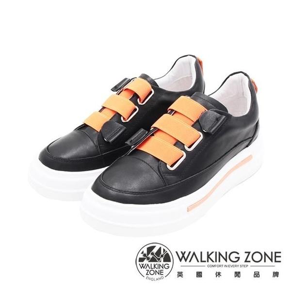 【南紡購物中心】WALKING ZONE(女)潮流彈力繃帶休閒鞋 女鞋-黑(另有白)