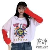 EASON SHOP(GW7464)實拍假兩件繽紛卡通字母印花長版OVERSIZE撞色拼接袖落肩寬鬆長袖素色棉T恤裙大碼