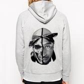 TUPAC-Skull金屬拉鍊連帽刷毛外套-灰色 嘻哈 搖滾 樂團 Rap Hip hop