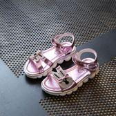 女童涼鞋潮公主鞋中大童學生兒童水鑚休閒平底鞋