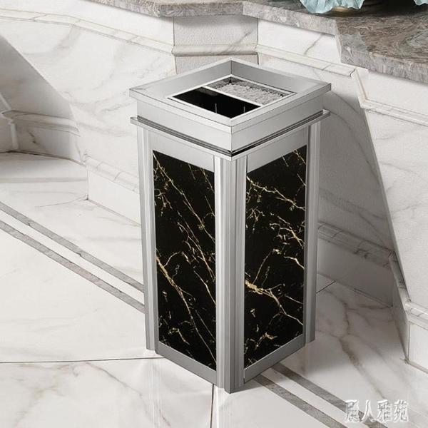 不銹鋼垃圾桶酒店大堂立式高檔家用電梯口仿大理石戶外灰桶大號 LR21484『麗人雅苑』