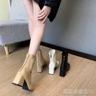 高跟短靴高跟靴女秋冬季新款單靴春秋百搭方頭鞋粗跟瘦瘦馬丁小短靴 【快速出貨】