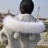 仿真毛貉子毛領子帽條女士冬季羽絨服帽條單買黑色白色毛領子通用 poly girl