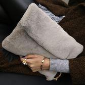 毛毛包包女冬季韓簡約加厚手拿毛絨單肩包鏈條信封包