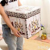 復古印花覆膜收納凳玩具收納箱多功能帶蓋折疊儲物凳 CJ3921『毛菇小象』