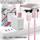 TOPCOM 3.4A 雙輸出行李箱旅充+MICRO USB編織充電線-玫瑰金