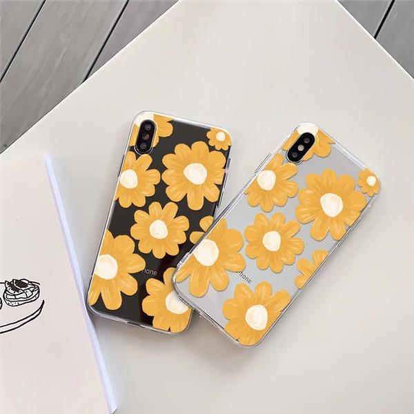 黃色復古花 適用 iPhone12Pro 11 Max Mini Xr X Xs 7 8 plus 蘋果手機殼 01