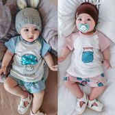嬰兒夏季套裝寶寶上衣 短褲開檔卡通蘑菇夏天0-1歲新生兒周歲衣服  LM々樂買精品