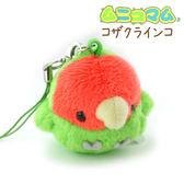 Hamee 日本 Mini Bird 球球鳥絨毛造型系列 迷你娃娃 絨毛玩偶 手機吊飾 (愛情鳥鸚鵡) 390-900769