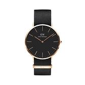 【Daniel Wellington】CLASSIC瑞典時尚品牌經典簡約尼龍腕錶-寂靜黑x玫金-40mm/DW00100148/原廠兩年保固
