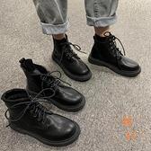 中筒靴女春秋單靴休閒百搭馬丁靴氣質短靴【橘社小鎮】