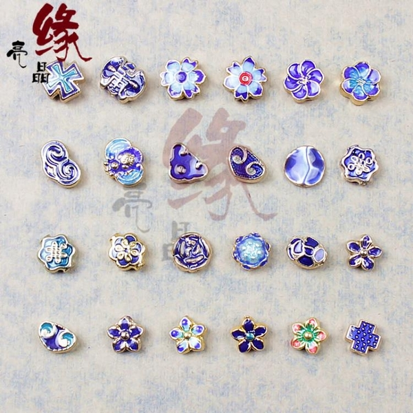 [超豐國際]DIY景泰藍直通飾品手鏈項鏈半成品散珠烤藍飾品手1入