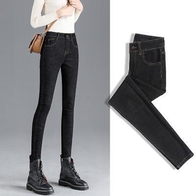 冬季牛仔褲女小腳褲2020年秋冬新款高腰顯瘦女士鉛筆黑色褲子T328 韓依紡