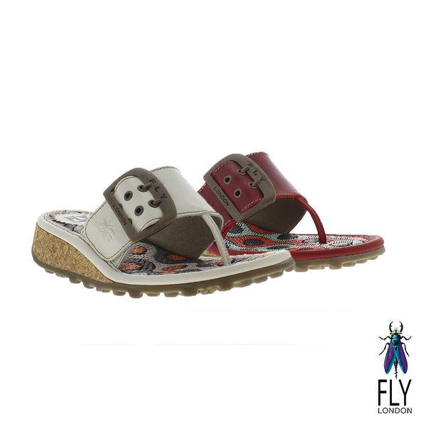Fly London(女) Kiss 大扣環草編底真皮低坡跟夾腳拖鞋 - 初戀白