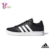adidas板鞋 男鞋 GRAND COURT SE 休閒運動鞋 記憶鞋墊 皮革 經典復古 T9323#黑白◆OSOME奧森鞋業