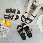 【全館】現折200新款時尚潮女鞋一字帶一鞋兩穿亮片鑽石平跟中秋佳節