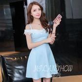 ✎﹏₯㎕ 米蘭shoe  夏季連衣裙新款韓版性感一字領露背蕾絲修身荷葉邊吊帶裙子