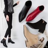 短靴女2020四季新款磨砂PU中跟踝靴色馬丁靴粗跟尖頭女靴子百搭鞋