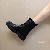 瘦瘦靴 馬丁靴女英倫風2019新款學生厚底內增高瘦瘦靴短靴透氣機車靴子女35-40碼