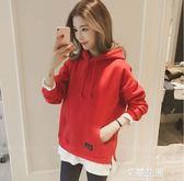 2018韓版新款秋冬外套超火衛衣女連帽寬鬆加絨假兩件拼接bf風上衣『艾麗花園』