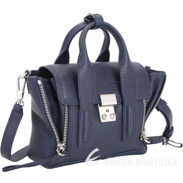 3.1 Phillip Lim Pashli 銀釦牛皮兩用提包(Mini/深藍色) 1640171-34
