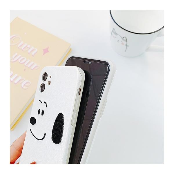 簡約刺繡維尼熊史努比 適用 iPhone12Pro 11 Max Mini Xr X Xs 7 8 plus 蘋果手機殼