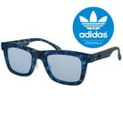 原廠公司貨-【adidas 愛迪達】潮流三葉草LOGO方框太陽眼鏡/運動眼鏡#藍色迷彩框-藍鏡面(002-141-000)