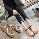 涼鞋 夏季新款平底透明涼鞋女網紅羅馬學生鞋鬆緊帶鉚釘平跟鞋子潮 檸檬衣舍