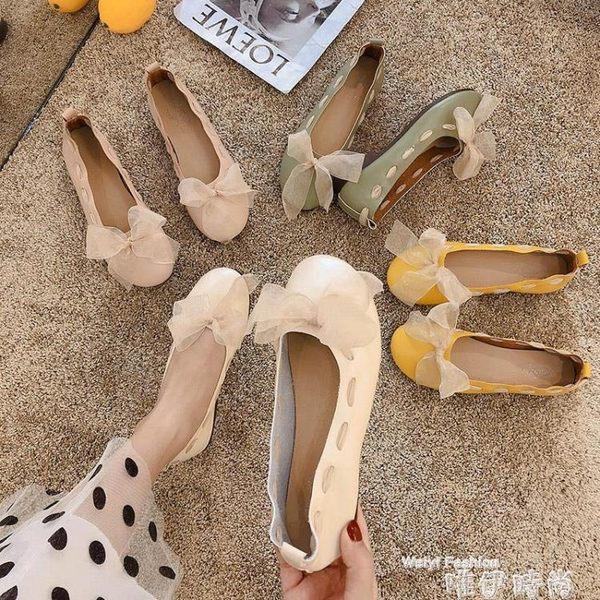 娃娃鞋牛筋軟底豆豆鞋女夏季新款淺口蝴蝶結可愛娃娃鞋平底孕婦單鞋 時尚新品