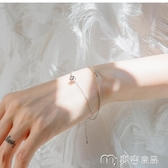 手鍊女立方體鋯石銀手鍊閨蜜手鍊女純銀學生韓版簡約個性冷淡風手飾 麥吉良品