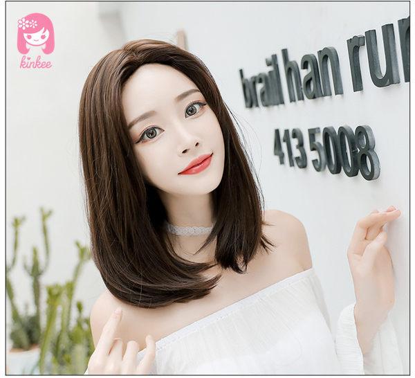 韓系高仿真 獨家工法 倒針技術 中分 耐熱 中長直髮 假髮【H6117R】*╮Kinkee假髮╭*