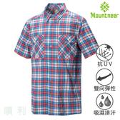 山林MOUNTNEER 男款彈性抗UV格子襯衫 31B01 紅色 格紋 排汗襯衫 休閒襯衫 OUTDOOR NICE