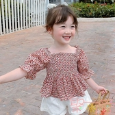 女童T恤夏裝韓版兒童夏季體恤短袖碎花上衣【聚可愛】