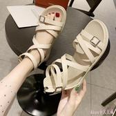 大尺碼涼鞋女仙女風綁帶鞋2020新款夏季百搭平底學生后拉鏈羅馬鞋 LF3897【Rose中大尺碼】