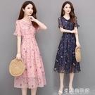 夏季洋裝 小清新流行雪紡碎花連衣裙女2021新款夏季收腰顯瘦中長款裙子潮 618大促銷