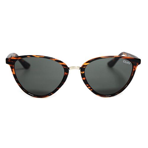 Quay Australia澳洲品牌 RUMOURS貓眼墨鏡太陽眼鏡 墨綠/動物紋框