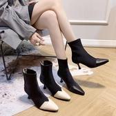 尖頭靴 鞋子女2020新款百搭秋冬短靴女尖頭細跟時裝靴網紅襪靴高跟馬丁靴(速度出貨)