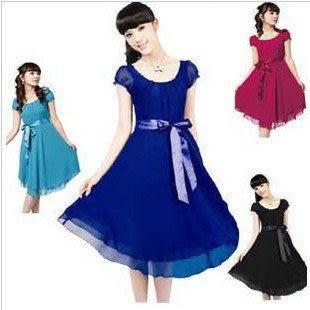 夏裝新款女裝 時尚垂感十足長裙短袖真絲連衣裙 女