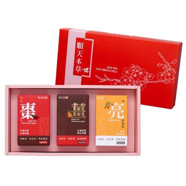 順天本草 三菁吉第禮盒(福圓棗茶+黑糖薑茶+明亮舒適飲)x1