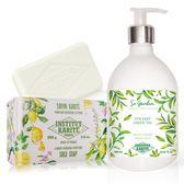 IKP巴黎乳油木 綠茶花園香氛液體皂(500ml)+檸檬馬鞭草手工皂(200g)