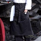 廚師圍裙半身男士圍裙奶茶店服務員廚房