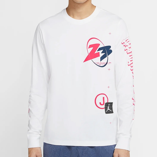 NIKE Jordan 23 Air 男裝 長袖 純棉 輕盈 休閒 LOGO 印花 白【運動世界】CT3662-100
