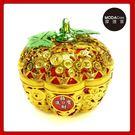 摩達客▶農曆春節新年◉簍空金蘋果開運造型糖果盒(中)擺飾桌飾收納盒