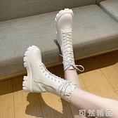 馬丁靴女英倫風新款圓頭系帶中筒時尚個性中跟機車靴子網紅女短靴 【美好時光】
