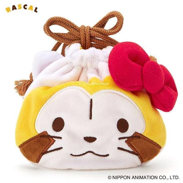 日本限定 三麗鷗 HELLO KITTY X Rascal 小浣熊聯名系列 束口袋 / 收納袋 (小浣熊款)
