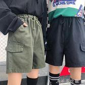 春季女裝學生工裝鬆緊腰闊腿褲抽繩休閒短褲寬鬆褲子 千千女鞋