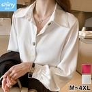 【V3239】shiny藍格子-輕熟氣質.純色寬鬆顯瘦翻領長袖襯衫